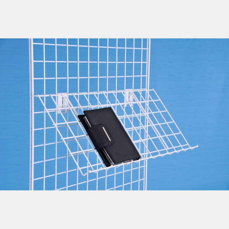 INCLINED WHITE WIRE SHELF FOR GRIDWALLS