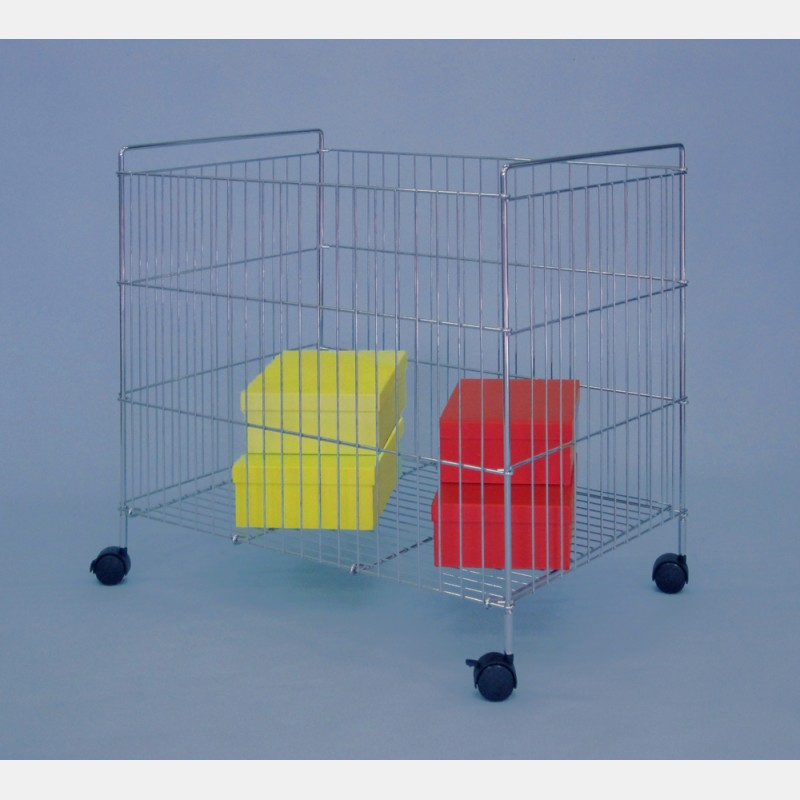 FOLDABLE WIRE BASKETS WITH SMALL CASTORS