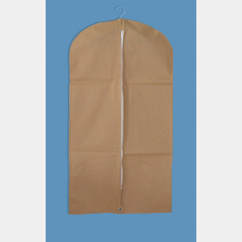 BEIGE NONWOVEN FABRIC GARMENT COVER FOR LONG CLOTHES