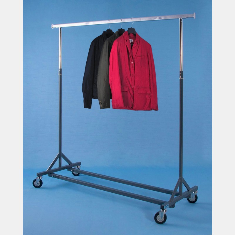 "GREY ""GOLIA"" REINFORCED CLOTHES RAIL - ADJUSTABLE HEIGHT"