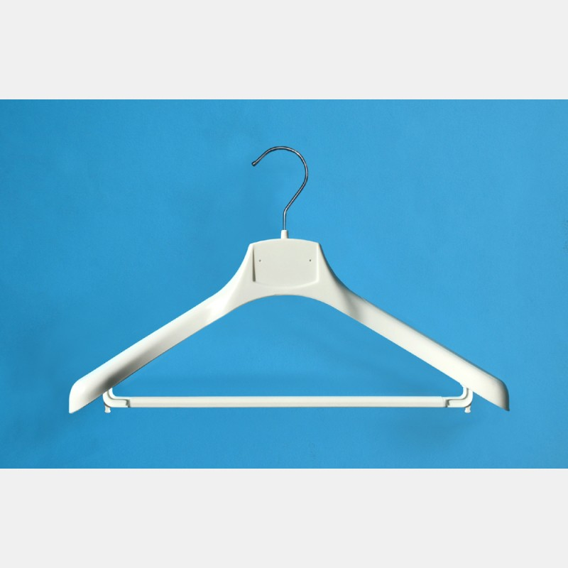 WHITE CLOTHES HANGER 42CM WITH BAR