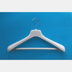 VELVET WHITE CLOTHES HANGER 42CM WITH BAR