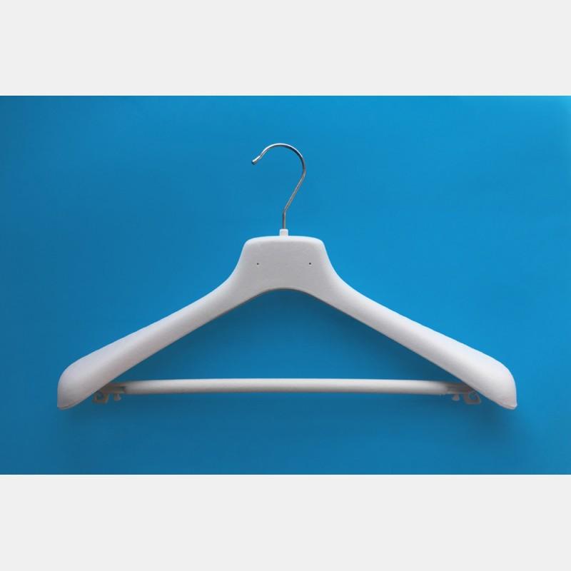 VELVET WHITE CLOTHES HANGER 42CM WITH BAR