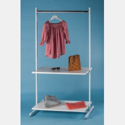 WHITE CLOTHES DISPLAY WITH TOP BAR AND 2 SHELVES