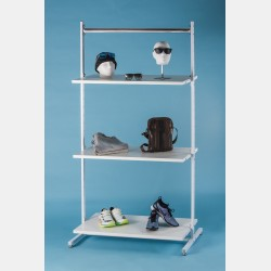 WHITE CLOTHES DISPLAY WITH TOP BAR AND 3 SHELVES