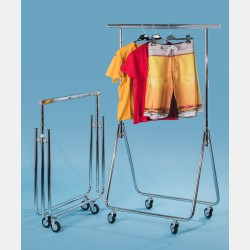 FOLDABLE CHROME CLOTHES RAIL - ADJSUTABLE HEIGHT