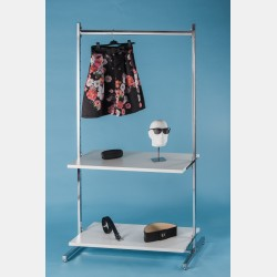 CHROME CLOTHES DISPLAY WITH TOP BAR AND 2 SHELVES