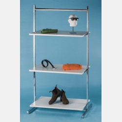 CHROME CLOTHES DISPLAY WITH TOP BAR AND 3 SHELVES