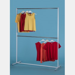 SIMPLE TWO-TIER CLOTHES RAIL IN WHITE STEEL
