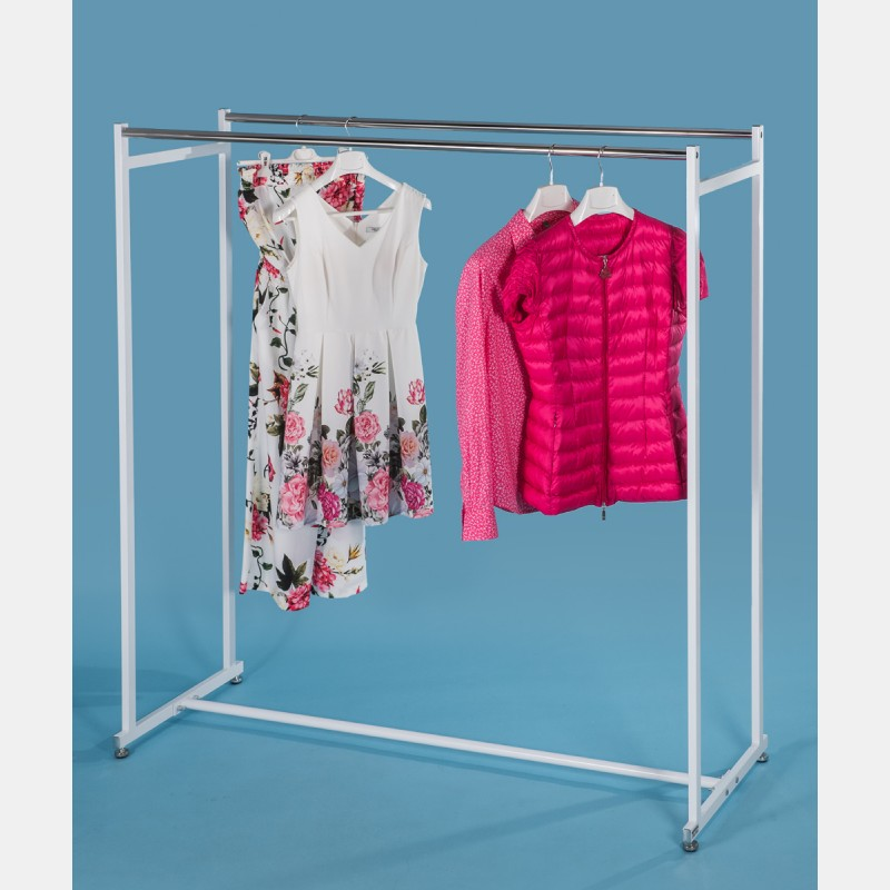 DOUBLE-RAIL CLOTHING RACK IN WHITE STEEL