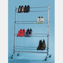 CHROME SHOES DISPLAY SYSTEM WITH 4 SHELVES