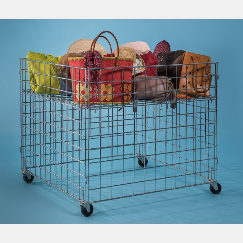 CHROME GIANT WIRE BASKET WITH CASTORS