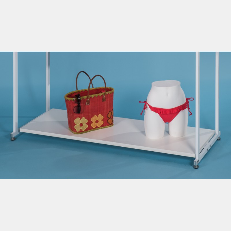 WHITE WOODEN SHELF FOR CLOTHES DISPLAY