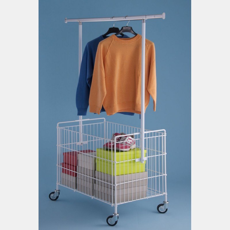 FOLDABLE ZINC-COATED WIRE BASKET WITH CLOTHES HANGING BAR