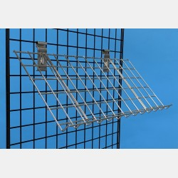 INCLINED CHROME WIRE SHELF FOR GRIDWALLS WITH UNIVERSAL FIXING PLATES