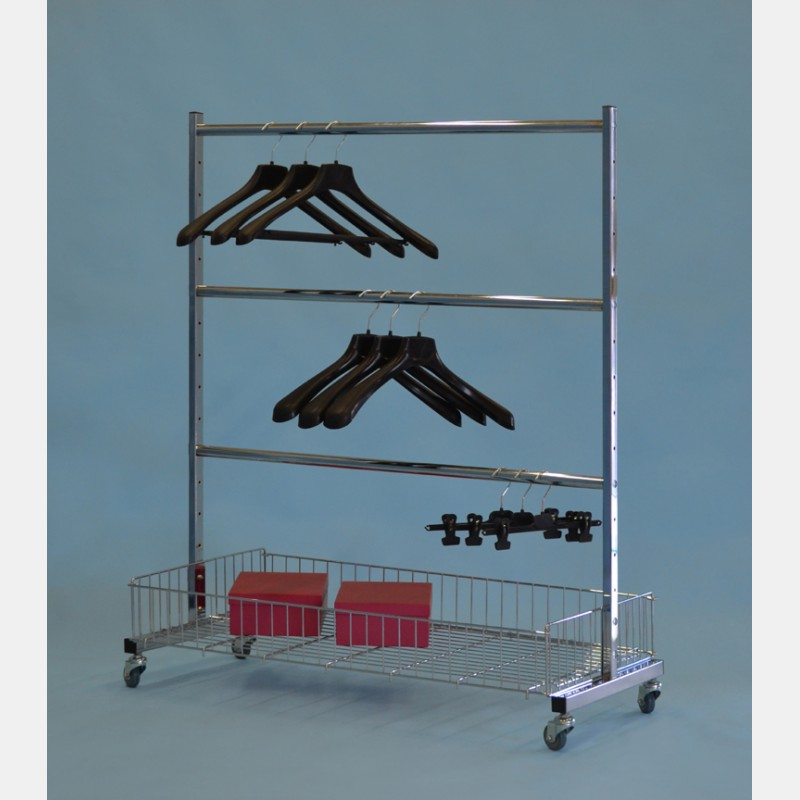 CHROME CLOTHES HANGING RAIL WITH BASKET