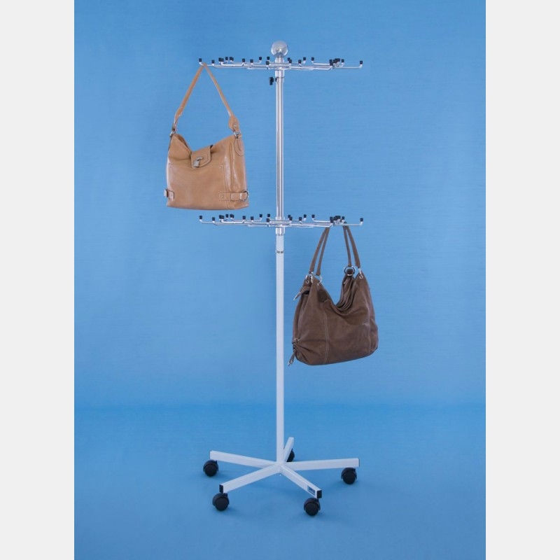 REVOLVING WHITE TWO-LAYER HANDBAGS DISPLAY