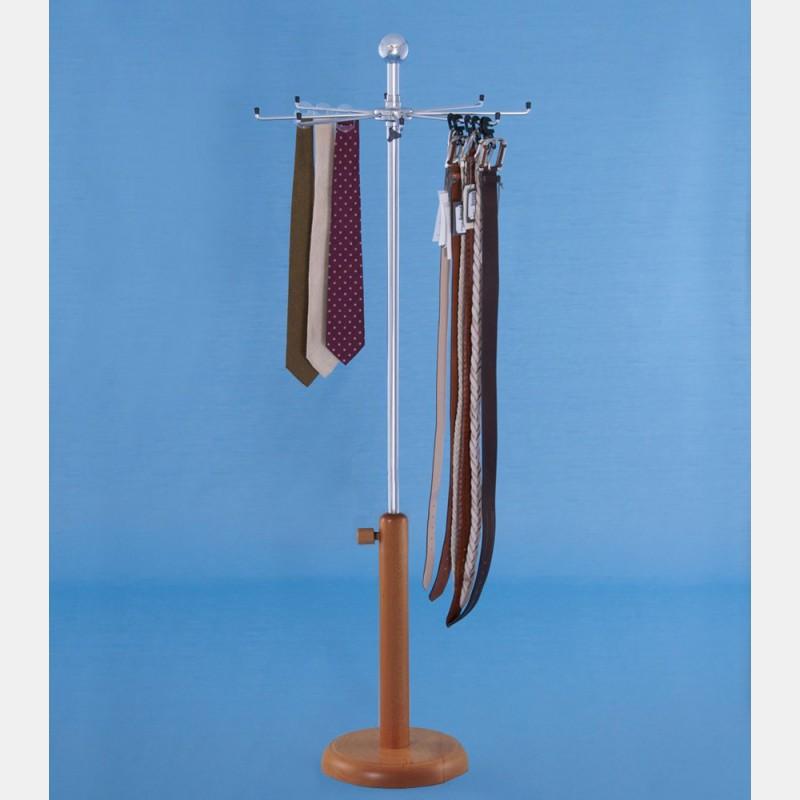 PORTA CRAVATTE/CINTURE CON BASE LEGNO altezza reg.75-160cm