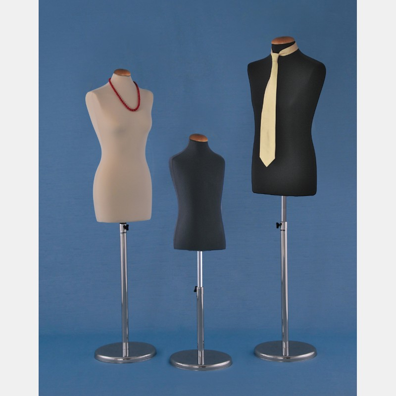 TAILORS DUMMY WITH ADJUSTABLE CHROME STAND