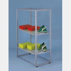 RECTANGULAR GARMENT DISPLAY UNIT 140CM WITH 2 SHELVES