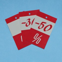 RED % PRICE TAGS FOR DISCOUNTS