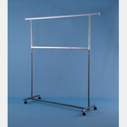 "GREY 2-TIER ""GARDA"" CLOTHES RAIL - ADJUSTABLE HEIGHT"