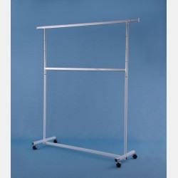 "WHITE 2-TIER ""GARDA"" CLOTHES RAIL - ADJUSTABLE HEIGHT"