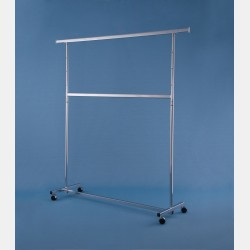 "CHROME 2-TIER ""GARDA"" CLOTHES RAIL - ADJUSTABLE HEIGHT"