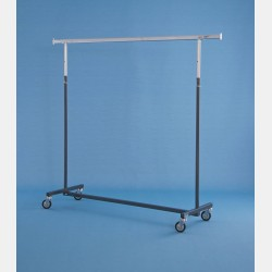 "GREY ""COMO"" CLOTHES RAIL - ADJUSTABLE HEIGHTSTENDER COMO RUOTE GRANDI GRIGIO barra 140cm-altezza reg.132-205"