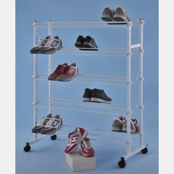 DOUBLE-SIDED WHITE WIRE DISPLAY FOR SHOES WITH 10 CHROME LAYERS