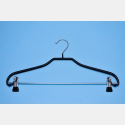 BLACK NON-SLIP SHAPED HANGER 40CM WITH CLIPS