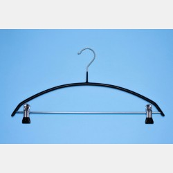 BLACK NON-SLIP CURVED HANGER 40CM WITH CLIPS